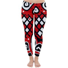 Red high art abstraction Winter Leggings