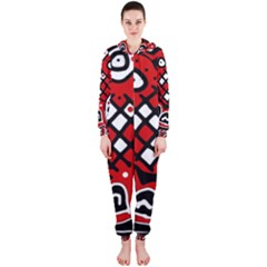 Red high art abstraction Hooded Jumpsuit (Ladies)