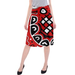 Red high art abstraction Midi Beach Skirt