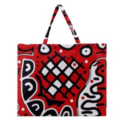Red high art abstraction Zipper Large Tote Bag
