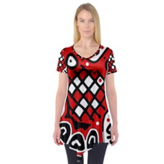 Red High Art Abstraction Short Sleeve Tunic