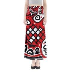 Red high art abstraction Maxi Skirts