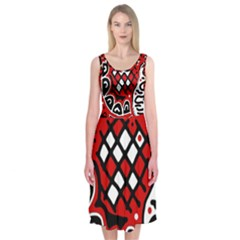 Red high art abstraction Midi Sleeveless Dress