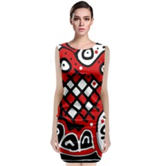 Red high art abstraction Classic Sleeveless Midi Dress
