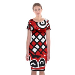 Red high art abstraction Classic Short Sleeve Midi Dress