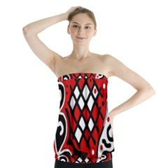 Red high art abstraction Strapless Top