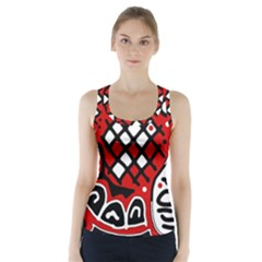 Red high art abstraction Racer Back Sports Top