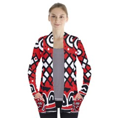 Red high art abstraction Women s Open Front Pockets Cardigan(P194)