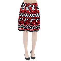 Red High Art Abstraction Pleated Skirt