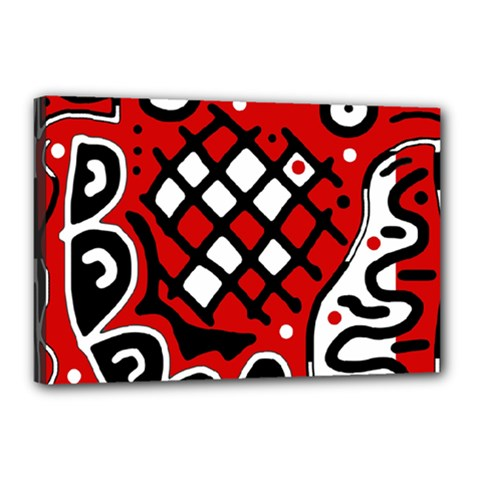 Red high art abstraction Canvas 18  x 12