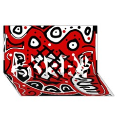 Red high art abstraction SORRY 3D Greeting Card (8x4)