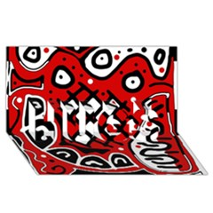 Red high art abstraction HUGS 3D Greeting Card (8x4)