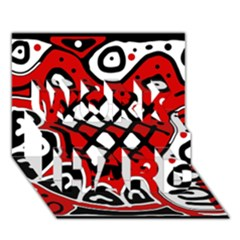 Red high art abstraction WORK HARD 3D Greeting Card (7x5)