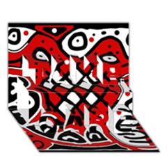 Red high art abstraction TAKE CARE 3D Greeting Card (7x5)