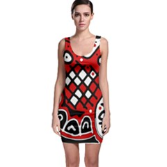 Red high art abstraction Sleeveless Bodycon Dress