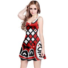 Red high art abstraction Reversible Sleeveless Dress