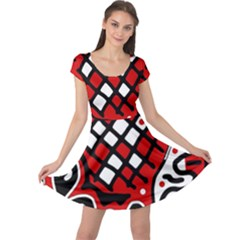 Red high art abstraction Cap Sleeve Dresses