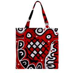 Red high art abstraction Zipper Grocery Tote Bag