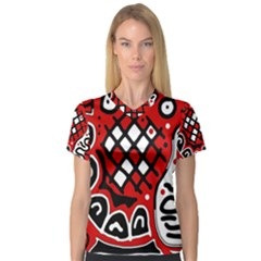 Red high art abstraction Women s V-Neck Sport Mesh Tee