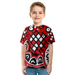 Red high art abstraction Kid s Sport Mesh Tee