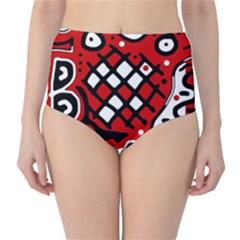 Red high art abstraction High-Waist Bikini Bottoms