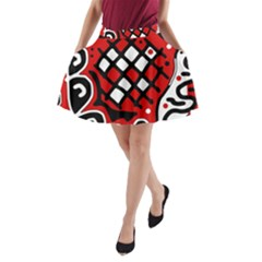 Red high art abstraction A-Line Pocket Skirt