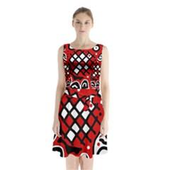 Red high art abstraction Sleeveless Waist Tie Dress