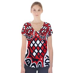 Red High Art Abstraction Short Sleeve Front Detail Top