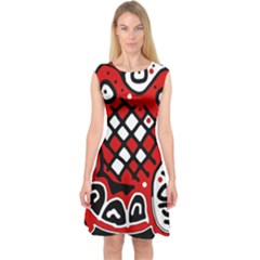 Red high art abstraction Capsleeve Midi Dress