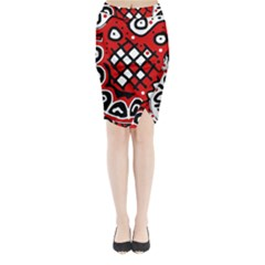 Red high art abstraction Midi Wrap Pencil Skirt