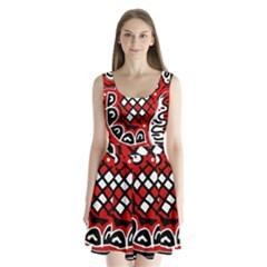 Red high art abstraction Split Back Mini Dress
