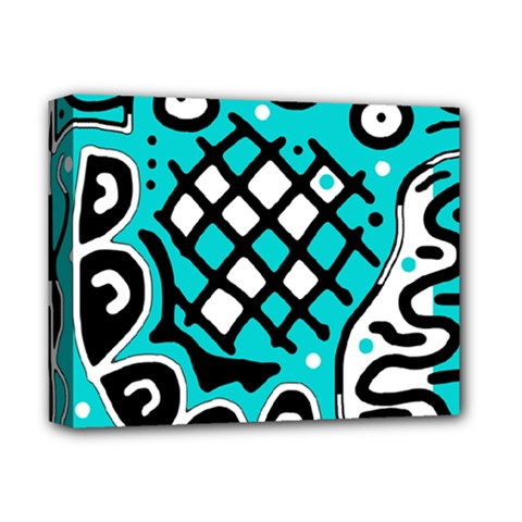 Cyan high art abstraction Deluxe Canvas 14  x 11