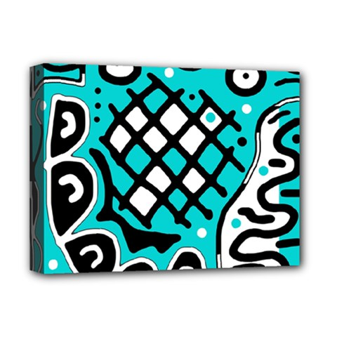 Cyan high art abstraction Deluxe Canvas 16  x 12