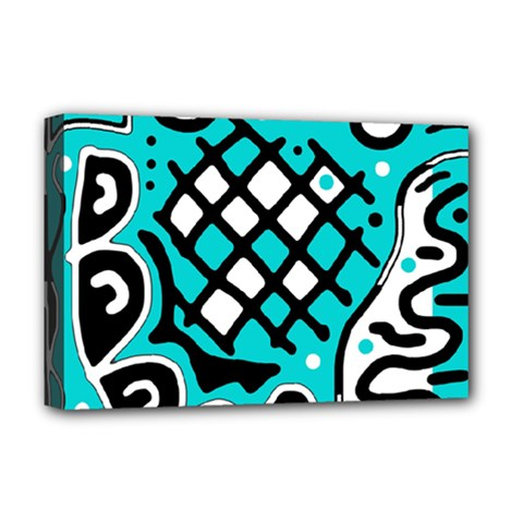 Cyan high art abstraction Deluxe Canvas 18  x 12