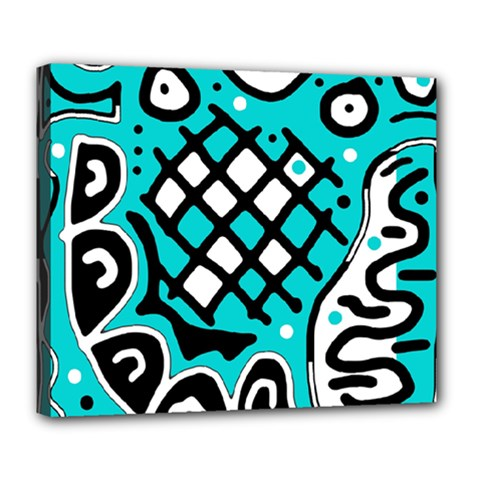 Cyan high art abstraction Deluxe Canvas 24  x 20