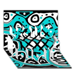 Cyan high art abstraction You Did It 3D Greeting Card (7x5)