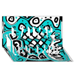 Cyan high art abstraction Laugh Live Love 3D Greeting Card (8x4)