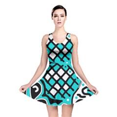 Cyan high art abstraction Reversible Skater Dress