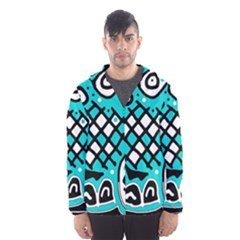 Cyan high art abstraction Hooded Wind Breaker (Men)