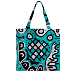 Cyan high art abstraction Zipper Grocery Tote Bag