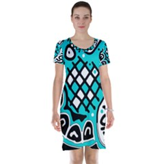 Cyan high art abstraction Short Sleeve Nightdress