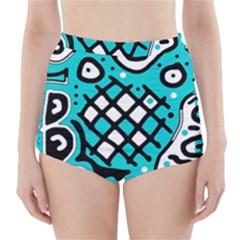 Cyan high art abstraction High-Waisted Bikini Bottoms