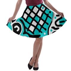 Cyan high art abstraction A-line Skater Skirt