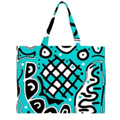 Cyan high art abstraction Large Tote Bag