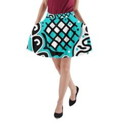 Cyan high art abstraction A-Line Pocket Skirt