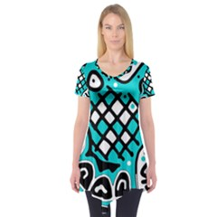 Cyan High Art Abstraction Short Sleeve Tunic
