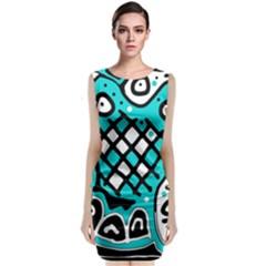 Cyan high art abstraction Classic Sleeveless Midi Dress