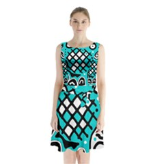 Cyan High Art Abstraction Sleeveless Waist Tie Dress