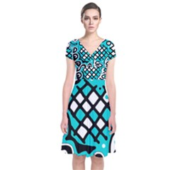 Cyan high art abstraction Short Sleeve Front Wrap Dress