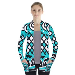 Cyan high art abstraction Women s Open Front Pockets Cardigan(P194)